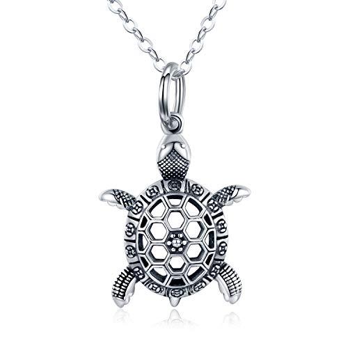 Cadena de tortuga de plata de ley 925 925, vintage, tortuga, colgante, colgante, joya para regalo, mujer, hombre y niños