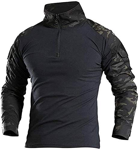 NXDRS Camisa táctica Ripstop para Hombre Camisa de Manga Larga Camisas de Camuflaje Airsoft con Cremallera Frontal 1/4 Camiseta de Combate al Aire Libre (XL,CP Black)