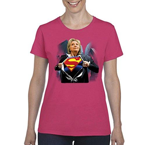 Xekia Superwoman Hillary Clinton For President Politics Womens T-shirt Tee XX-Large Heliconia Pink