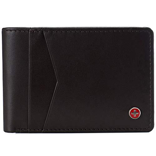 Alpine Swiss Men's Delaney Slimfold RFID Safe Slim Bifold Wallet Smooth Leather Comes in Gift Box Brown