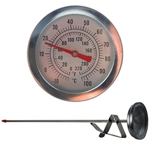 Termómetro casero para cerveza con esfera de 52mm, una sonda de 300mm de largo y un clip para sujetar