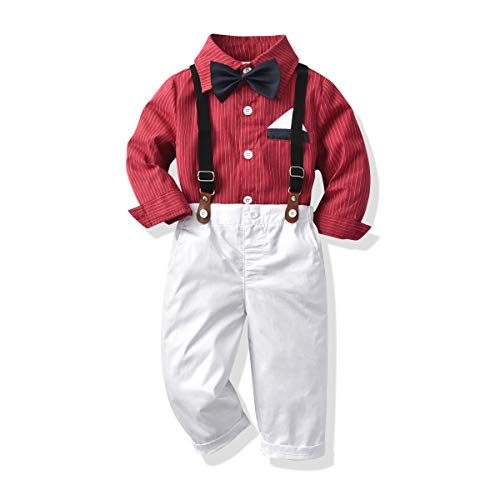 MHSH Baby Boys Toddler Christmas Outfit Gentleman Stripe Shirt Bowtie Pants Suits Suspender Overalls...