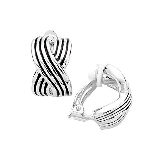 Schmuckanthony Hoernel - Pendientes de clip trenzados con esmalte negro y plateado acanalado