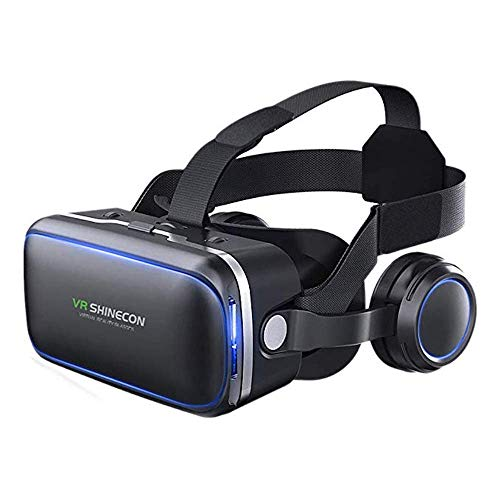 VR Headset for Cellphone, Adjustable 3D VR Glasses with Headphone for Mobile Games and Movies, Compatible 4.7-6.2 inch Screen iPhone & Android, Works with Google Cardboard, Black