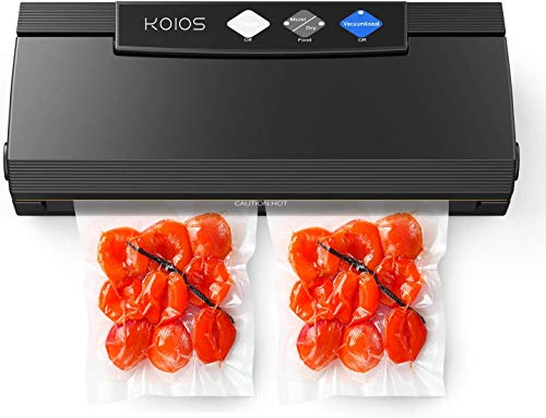 KOIOS Vacuum Sealer Machine, 85Kpa Automatic Food Sealer for Food Savers w/Starter Kit, Dry&Moist Modes, With Up To 40 Consecutive Seals, Compact Design(Black)