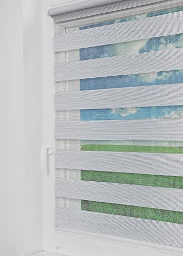 Tom'Shop® Doppelrollo [Marmor-Weiß & Grau, 60cm x 150cm] Duo Rollos für Fenster Klemmfix ohne Bohren mit Klämmträger Fensterrollo
