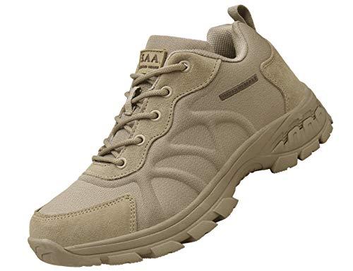 IYVW K12 Botas Altas Combate Desierto Botas Seguridad La Policía Militar Fuerzas Especiales Zapatos Senderismo Tácticos Al Aire Libre Botas Cortas Seguridad Trabajo Transpirables Beige 43 EU