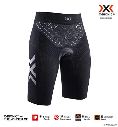 X-Bionic Twyce 4.0 Bike Shorts Padded Women, Short Donna, Opal Black/Arctic White, M