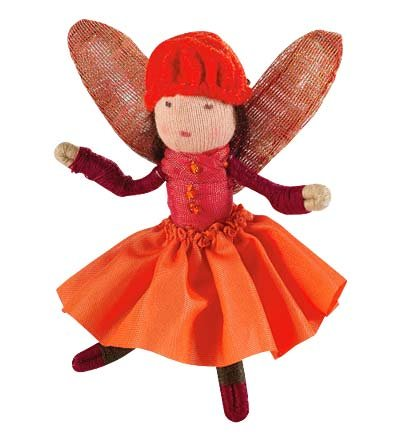 Blooming Mini Fairy Posable Doll with Iridescent Wings, Poppy in Orange