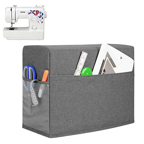 Teamoy Nähmaschinen Staubschutzhülle mit 3 Taschen, Anti-Staub Abdeckung für die meisten Standard-Nähmaschinen, Schutzhülle passt für Singer- und Brother-Maschine, Grau