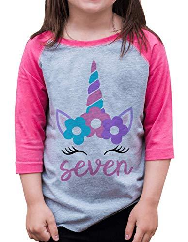 7 ate 9 Apparel Girls Seven Birthday Unicorn Raglan Tee Pink Youth Small