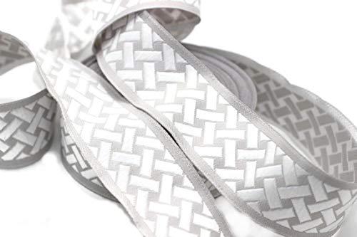 11 Yard Spool 1.37 inch Wide White-Grey Knot Jacquard Ribbon Geometric Trim Jacquard Trims Craft Supplies 35274