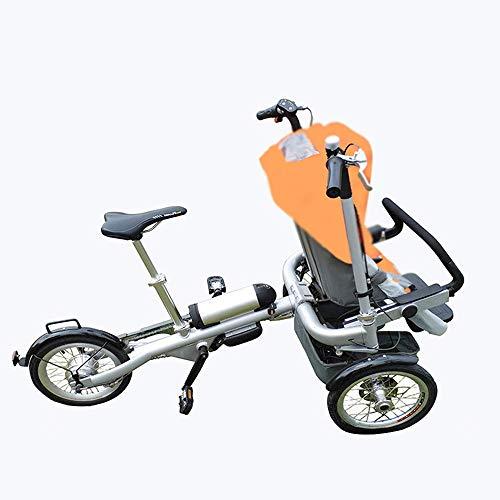 IF.HLMF cochecito de bebé plegable 3 ruedas dos sillín de bicicleta para madre y bebé padre-hijo bicicleta 2 en 1 cochecito de bebé, naranja, naranja