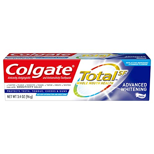 Colgate Total Advanced Whitening Travel Toothpaste with Fluoride for Cavity Protection with Sensitivity Relief, TSA Approved Size - 3.4 ounces