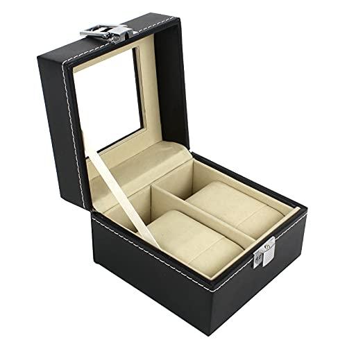 Bigxin Uhrenbox für 2 Uhren Schwarz, Aufbewahrungsbox Watch Display Box Uhrenschachtel Uhrenkasten Uhrenschatulle Damen Herren mit Glasdeckel aus Leder Samt Schmuck Gehäuse Uhrenkoffer Armband Armreif