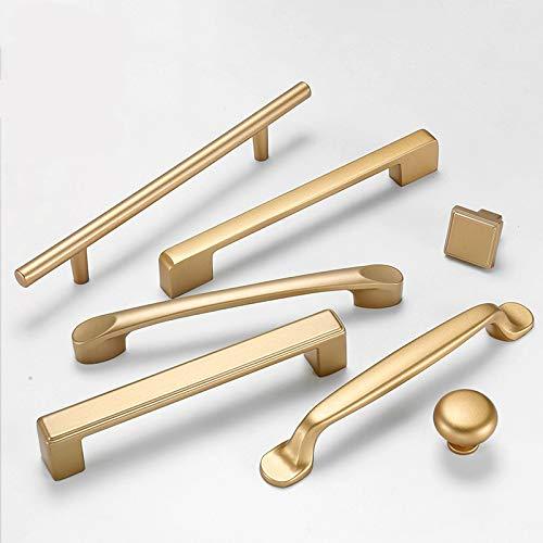 HUANGDANSEN Cabinet Handles European Style Matte Gold Cabinet Handles Solid Aluminum Alloy Kitchen Cupboard Pulls Drawer Knobs /4Pcs