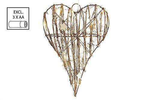 COUNTRYFIELD - Cuore Decorativo con Luce LED Twein, 24 x 8 x 34 cm
