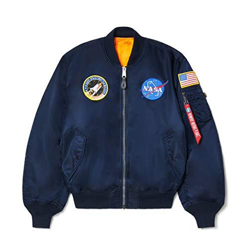 Alpha Industries Men's NASA MA-1 Bomber Flight Jacket, Replica Blue, X-Small