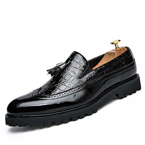 Mocasines de Hombre Zapatos de Plataforma de Cuero con borlas de Moda...