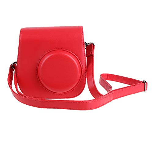 Mageelian 1PC Lederen Camera Strap Bag Case Cover Pouch Protector schouderband for Polaroid fotocamera for Fuji Fujifilm Instax Mini 8 (Color : Red)