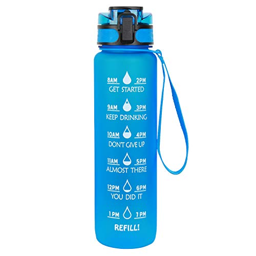 Azebo 1L Wasserflasche mit Motivations-Zeitmarkierungen und Tee-Fruchtsieb, Tritan BPA-frei wiederverwendbarer, auslaufsicherer Trinkkrug für das Indoor-Outdoor-Sportbüro, 1 Liter, blau