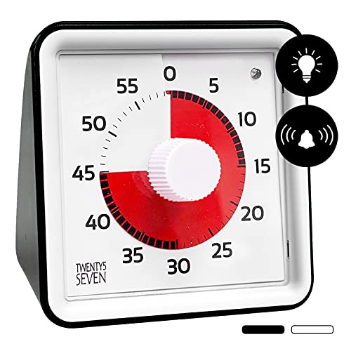 Silent Countdown Timer 3 inch, 60 Minute 1 hour Visual Timer, Flashing-light and Alarm Mode, Office Meeting Classroom Teaching Tool, Countdown Clock for Kids Exam Time Management - Black