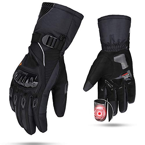 Motorcycle Winter Gloves, kemimoto Waterproof Motorcycle Riding Gloves for Men Women Touchscreen Winter Glove for Skiing Cycling Outdoor - Black, XX-Large