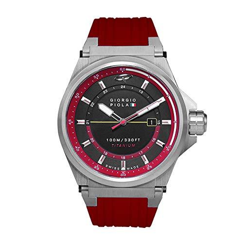 Giorgio Piola Men's Strat-3 HMS Red Sport Chronograph Watch (Brushed Titanium)