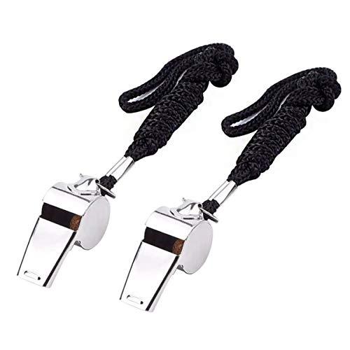 ExeQianming – Silbatos de acero inoxidable, 2 unidades de metal para árbitro o entrenador, con cordón, para fútbol y baloncesto