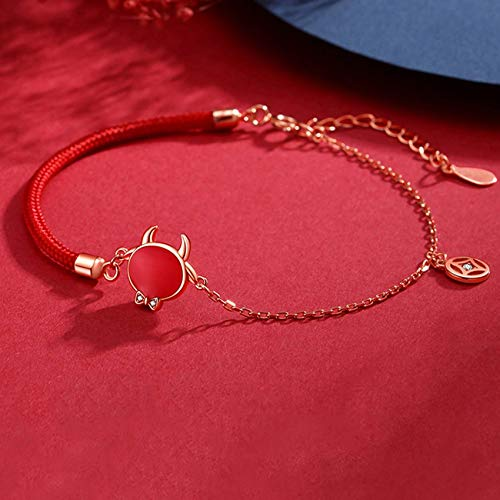 JIACUO Fashion Gift,Feng Shui Wealth Bracelet for Women Sterling Silver Color Changing Cute Bull Copper Coin Inlaid with Zircon Braided Bracelet Adjustable Amulet Strong Talisman Attract Wealth