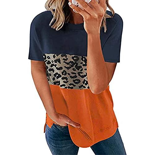 Camiseta de Color sólido con Cuello en V para Mujer Camiseta Casual de Leopardo de Verano Tops Sueltos Ajustada de Bloque de Color básico Casual Camisetas Camisas Casuales Camiseta de Camuflaje Tops