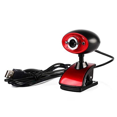 Diommest Computer USB high-definition camera, Laptop Video Webcam Drive-free, Good Night Vision met microfoon, gebruikt for e-learning Test, Remote Conference Compatibel met Windows (Color : Red)