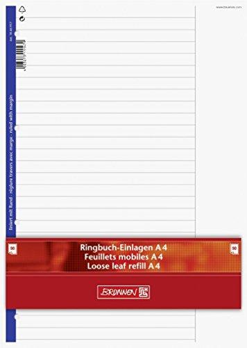 Ringbuch - Einlagen/Papier BRUNNEN 50 Blatt - liniert mit Rand (Lineatur 25) - A4 (21,0 x 29,7 cm)