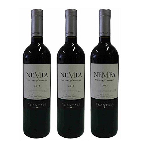 3x 750ml NEMEA griechischer Rotwein trocken 12,5% Tsantali Spar Set + Probiersachet Olivenöl kaltgepresst von Kreta