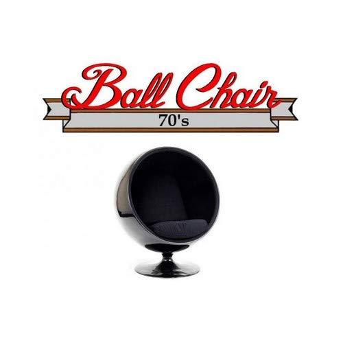 INSIDE Fauteuil Boule, Ball Chair Coque Noir/intérieur Velours Noir. Design 70's.