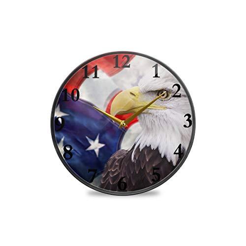 Runde Wanduhr, Vintage-Stil, amerikanische Flagge, Adler, dekorative Uhr, moderne Uhr, batteriebetrieben, geeignet für Esszimmer, Küche, Büro, Klassenzimmer, plastik, multi, 11.9x11.9in