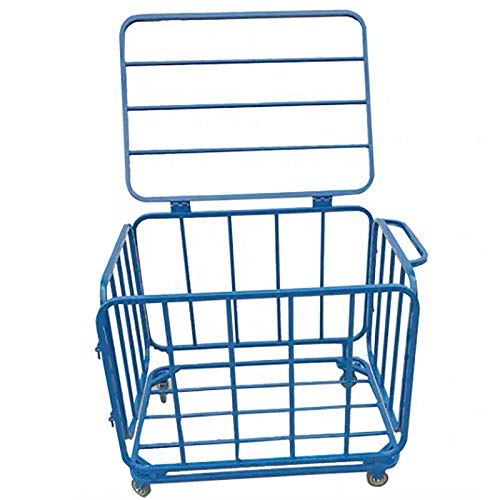Cesta de recogida de bola Cesta Carrito de golf de acero inoxidable Rack de almacenamiento de baloncesto Tipo de plegado móvil adecuado Cesta de recogida de bola ( Color : Blue , Size : 60x70x80cm )