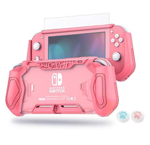 LeyuSmart - Funda protectora para Nintendo Switch Lite, con protector de pantalla de cristal templado HD y tapas de agarre para pulgar, color coral