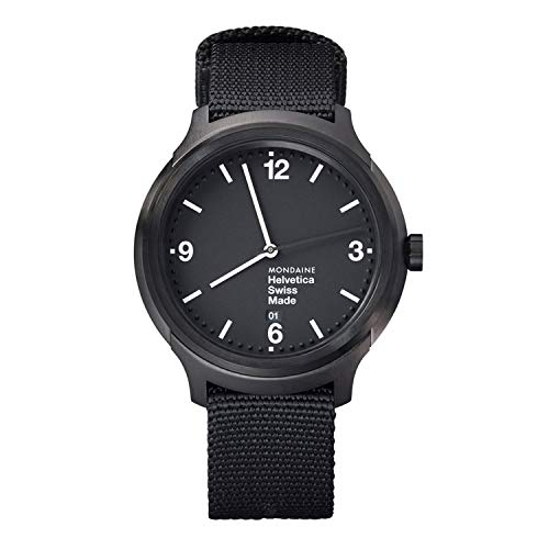 Mondaine Helvetica No1 Wrist Watch (MH1.B1221.NB) Black Nylon Strap, Black Case and Dial, White Hands and Numbers