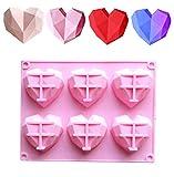 CaLeQi - Molde de silicona con forma de corazón de 6 cavidades, diseño de corazón y diamante, hecho a mano, para pasteles, chocolate, jabón, pudin, bandeja de herramientas de cocina