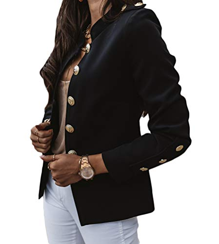 Onsoyours Blazer Militar para Mujer Chaqueta de Trabajo de Doble Botonadura Chaqueta con Frente Abierta Abrigo Negro L
