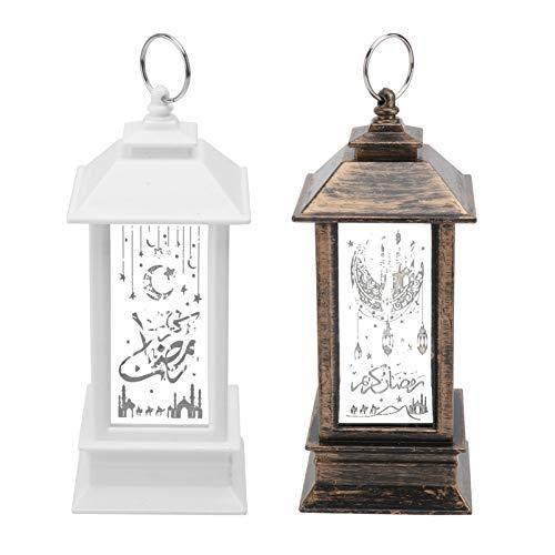 Holibanna 2 Piezas de Lámpara Eid Ramadan Linternas Vintage Mini Lámpara LED Linternas LED Estrella Linterna para Decoración de Mesa Central