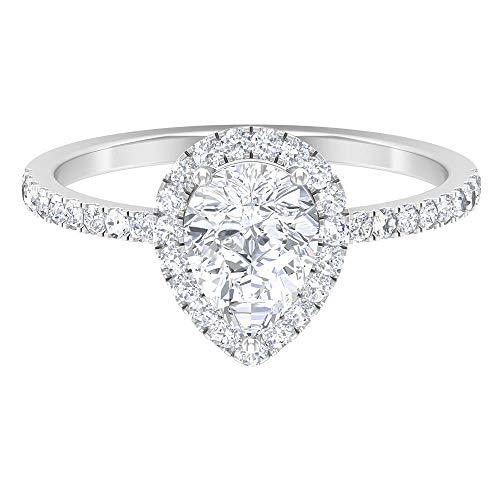 Anello di fidanzamento a goccia, 6 x 8 mm a forma di pera, anello di moissanite D-VSSI, anello solitario in moissanite, anello nuziale con pietra laterale, 18K Oro bianco, Size:EU 65