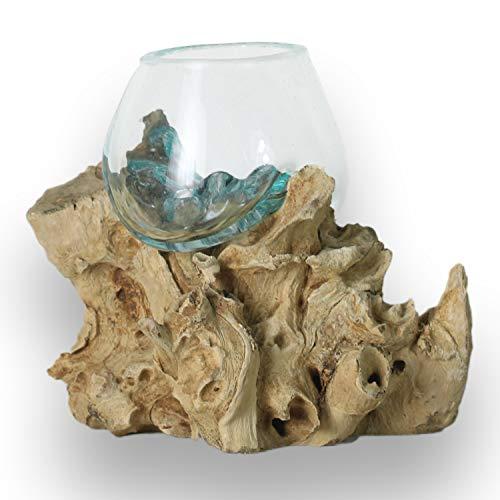 ART-CRAFT Handgemachte Glas Vase Blumenvase Tischvase Dekovase auf einem Wurzelholz geformt. Dies ist EIN Beispielfoto