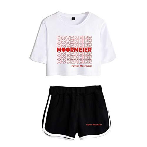 Frauen Mädchen Nabel Shorts Trainingsanzug Payton Moormeier Casual Crop T-Shirt Top Kurz 2 Stück T-Shirt Hose Anzug Outfit