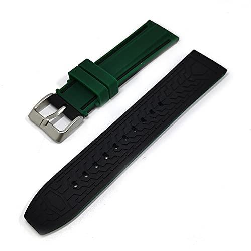 DLDQMY Correa de silicona suave para reloj deportivo de 20 mm, 22 mm, 24 mm, 26 mm, goma, impermeable, para hombres, correa de repuesto (color de la correa: verde negro, ancho de la correa: 20 mm)