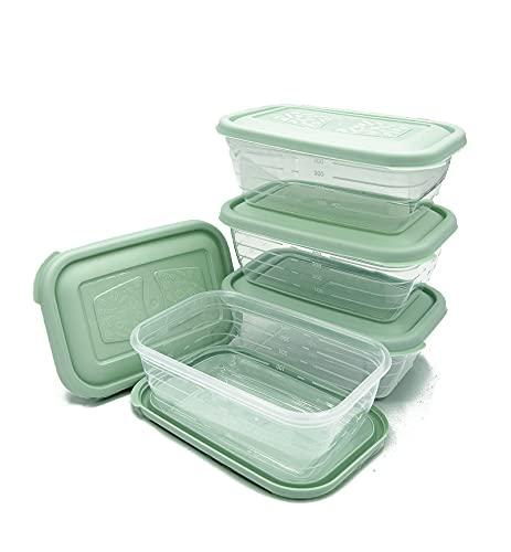 Unishop Set de 5 Recipientes de Plástico para Comida, Fiambreras Sin BPA, Táper Apto para Microondas, Congelador y Lavavajillas, de Colores Pastel (Verde, 600ml)