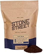 Stone Street Cold Brew Coffee, Strong & Smooth Blend, Coarse Ground Coffee, Dark Roast, Colombian Single Origin, 1 LB