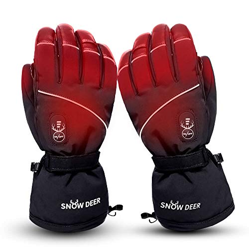 Electric Heated Gloves for Men & Women, Waterproof & Windproof Ski Gloves Rechargeable Battery Gloves with Touchscreen Three Heat Settings Thermal Gloves for Cold Weather Snowboarding Shovel Snow(M)