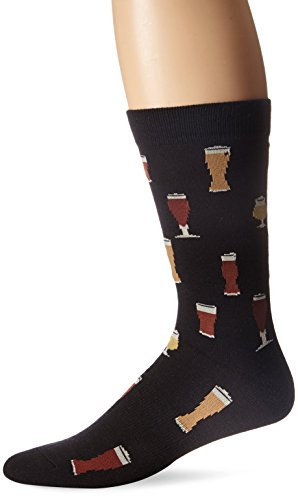 K. Bell Men's Food and Drink Casual Novelty Crew Socks, Craft Beer (Black), Shoe Size: 6-12